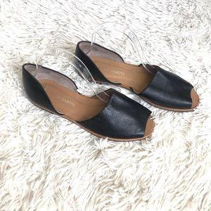 Franco Sarto Black Leather Venezia Peep Toe Sandal